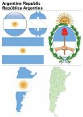 Argentina collection including flag, map (administrative division), symbol, currency unit & glossy b