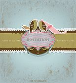 stock photo of dinner invitation  - Love birds invitation card - JPG