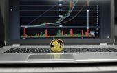 Golden Titan Bitcoin Coin On A Silver Keyboard Of Laptop And Diagram Chart Graph On A Screen As A Ba poster