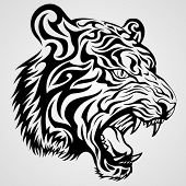 stock photo of tigress  - Tiger Head Tattoo - JPG