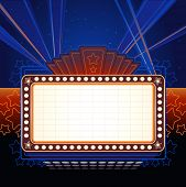 stock photo of movie theater  - Theater Marquee with spotlights in night sky - JPG