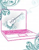 Hand drawn lap top with guitar screen