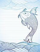 picture of koi  - Hand drawn koi and waves on lined paper - JPG