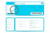 pic of boarding pass  - illustration of front and back part of flight ticket - JPG