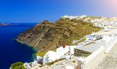 Greece, Santorini. Amazing View From Famous Sunset Point On Island In Aegean Sea - Santorini Over Oi poster