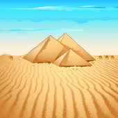 foto of saharan  - illustration of pyramid structure on lonely desert - JPG
