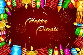 stock photo of ganpati  - illustration of diwali background with colorful firecracker - JPG
