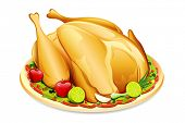 stock photo of fruit platter  - illustration of roasted holiday turkey on platter with garnish - JPG