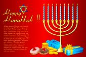 picture of sukkot  - illustration of burning candle in Hanukkah Menorah with gifts - JPG