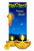 foto of diya  - illustration of burning diya with hanging lamp in diwali card - JPG