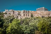Acropolis Of Athens, Greece. It Is The Main Landmark Of Athens. Scenic Panorama Of Acropolis Hill Wi poster