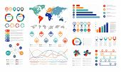 Flat Infographic Elements. Presentation Chart Element, Percent Graph Banner And Infograph Flowchart. poster