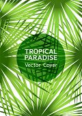 Tropical Paradise Leaf Vector Cover. Trendy Floral A4 Design. Exotic Tropic Plant Leaf Vector. Summe poster