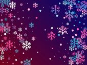 Crystal Snowflake And Circle Shapes Vector Graphics. Trendy Winter Snow Confetti Scatter Card Backgr poster