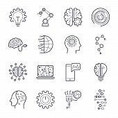 Industry 4.0, Internet Of Things Iot And Artificial Intelligence Ai Icons Set. poster