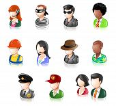 stock photo of incognito  - Various Profession People Glossy Icon Set - JPG