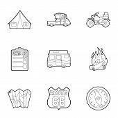Nature Trip Icons Set. Outline Illustration Of 9 Nature Trip Icons For Web poster