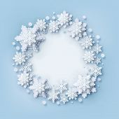 Abstract Christmas Background With Volumetric Paper Snowflakes. White 3d Snowflakes With Shadow. Xma poster