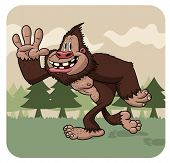 stock photo of big-foot  - Funny cartoon big foot walking - JPG