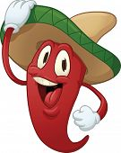 Cute cartoon spicy pepper. Vector illustration with simple gradients. poster
