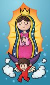 stock photo of cherub  - Cartoon illustration of the Virgin of Guadalupe - JPG