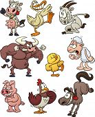 Nine funny cartoon farm animals. Vector illustration with simple gradients. All characters are on se