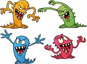 Four colorful Halloween monsters. Vector illustration with simple gradients. All in separate layers