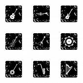Musical Instruments Icons Set. Grunge Illustration Of 9 Musical Instruments Icons For Web poster