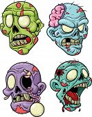 image of corpses  - Four cartoon zombie heads - JPG