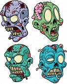 image of gunshot  - Four cartoon zombie heads - JPG