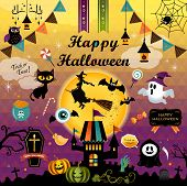 Happy Halloween Design Elements Set. Halloween Design Icons, Elements, And Objects. Vector Illustrat poster