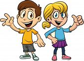 stock photo of short skirt  - Cute cartoon boy and girl - JPG