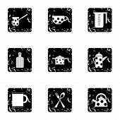 Dining Items Icons Set. Grunge Illustration Of 9 Dining Items Icons For Web poster