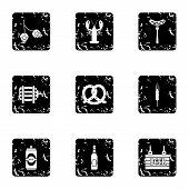 Alcoholic Beverage Icons Set. Grunge Illustration Of 9 Alcoholic Beverage Icons For Web poster