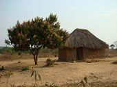 picture of mud-hut  - Small hut located in the village of Kafulafuta Zambia Africa - JPG