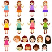 stock photo of little girls  - A colorful Theme of cute vector Icons  - JPG