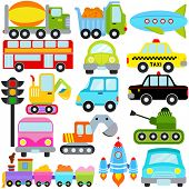 stock photo of lift truck  - A colorful set of cute Vector Icons  - JPG