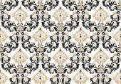 Floral Pattern. Vintage Wallpaper In The Baroque Style. Seamless Vector Background. Black And Gold O poster