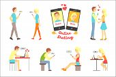 Online Dating App, People Finding Love Using Dating Websites And App On Smartphones And Computers Se poster