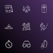 Tourism Icons Line Style Set With Compass, Backpack, Forest And Other Tourism Elements. Isolated Vec poster