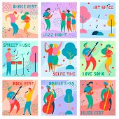 9 Cards Of Colorful Modern Flat Characters For Jazz, Rock, Blues Music Fest-singer, Musicians, Guita poster