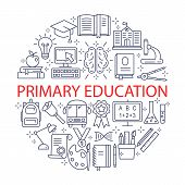 Primary Education Icons Set. Outline Icon Collection - School Education. Education Simbols For Web A poster