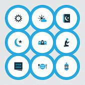 Religion Icons Colored Set With Menu, Asr, Islam Book And Other Clock Elements. Isolated Vector Illu poster