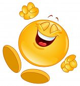 stock photo of emoticons  - Cheerful emoticon jumping in the air - JPG