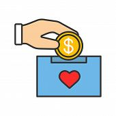 Donation Box Color Icon. Moneybox. Fundraising. Donate Money To Charity. Hand Dropping Dollar Coin I poster