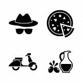 Italian Culture. Simple Related Vector Icons Set For Video, Mobile Apps, Web Sites, Print Projects A poster