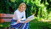 Lady Enjoy Poetry In Garden. Romantic Poem. Enjoy Rhyme. Woman Happy Smiling Blonde Take Break Relax poster