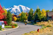 Slow children at play street sign at residential neighborhood in Colorado at autumn, USA. Mount Sopr poster