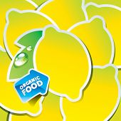 Background from lemons with an arrow by organic food. Vector illustration.