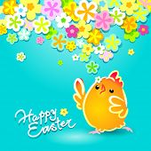 Easter card with a funny chicken on a blue background with flowers. Vector illustration.